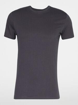 T shirt col rond uni gris fonce homme