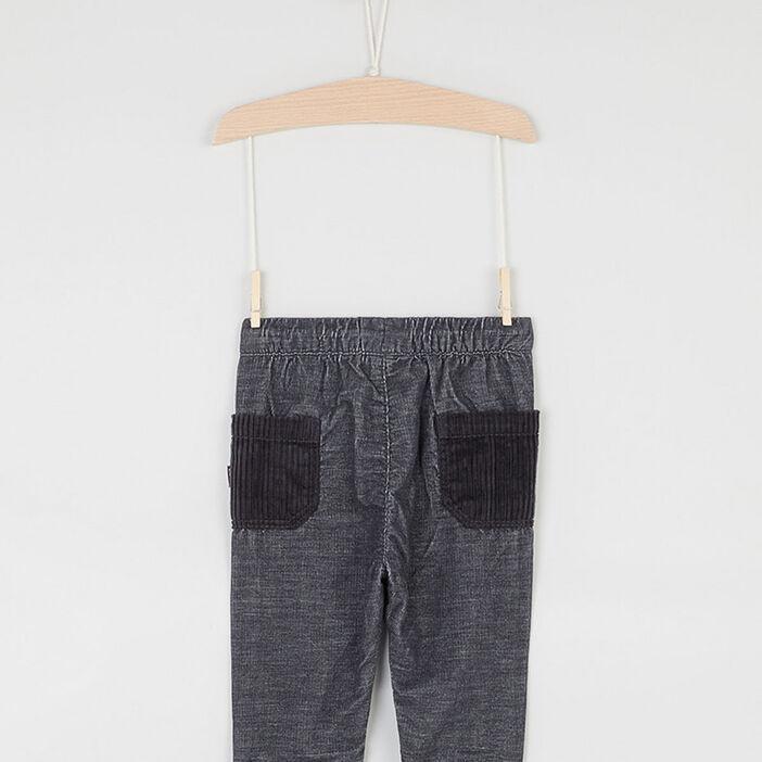 Pantalon élastiqué à poches bébé garçon gris