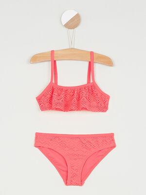 Maillot de bain volant crochet rose fille