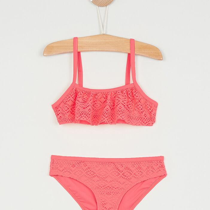 Maillot de bain volant crochet fille rose
