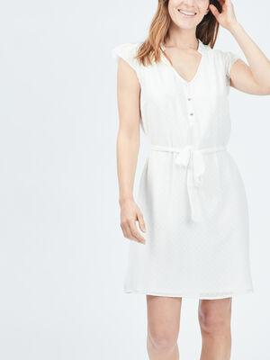 Robe droite ceinturee ecru femme