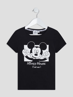 T shirt Mickey Mouse noir fille