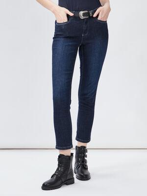 Jeans slim ceinture denim brut femme