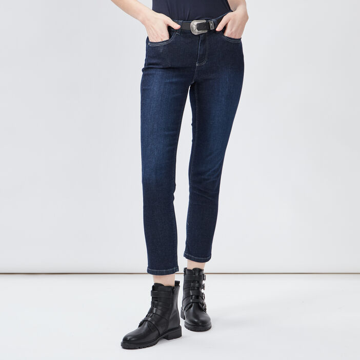 Jeans slim ceinturé femme denim brut