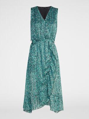 Robe portefeuille imprimee bleu turquoise femme