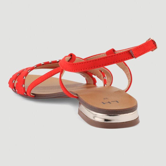 Sandales talon plat et boucle femme rouge