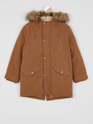 Manteau zippe avec capuche fourree marron cognac garcon