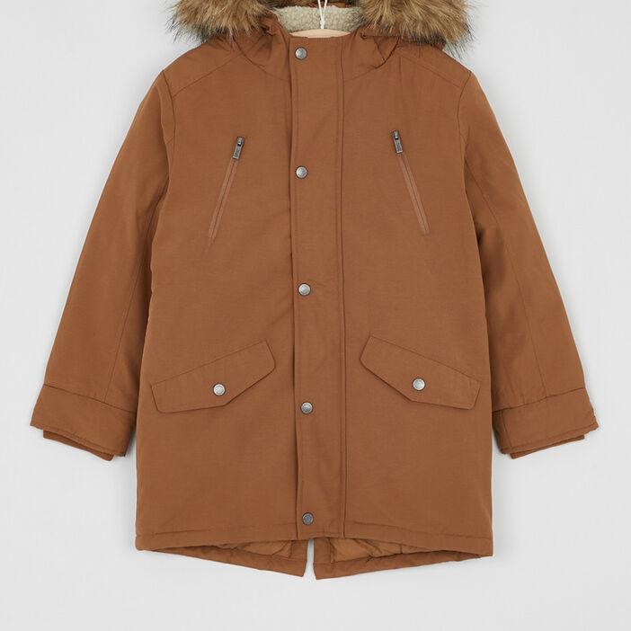 Manteau zippé avec capuche fourrée garçon marron cognac