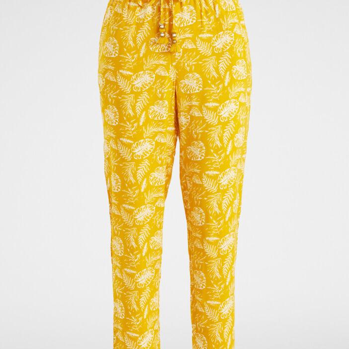 Pantalon taille extensible pompons femme jaune moutarde