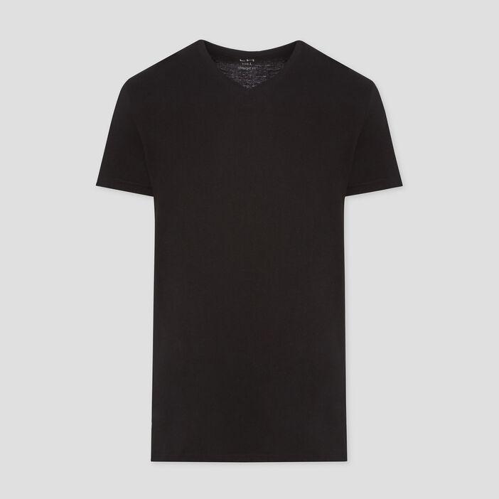 T-shirt col V uni homme noir