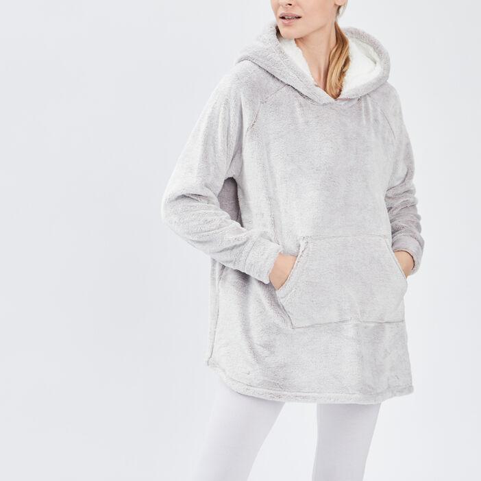 Sweat de pyjama à capuche femme taupe