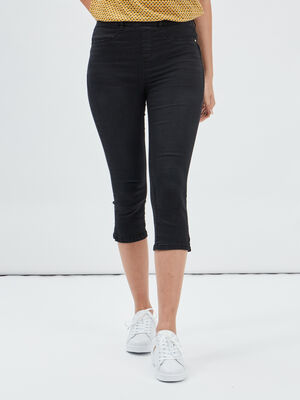 Pantacourt skinny en jean denim noir femme
