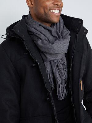 Echarpe unie a franges noir homme