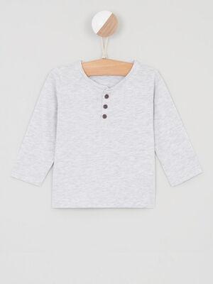 T shirt coton uni col boutonne gris garcon