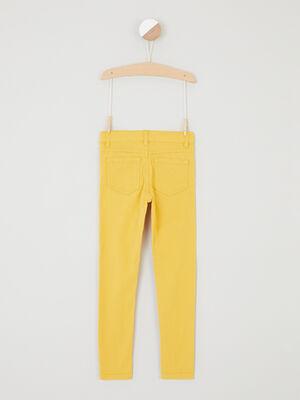 Pantalon skinny avec bouton coeur jaune fille