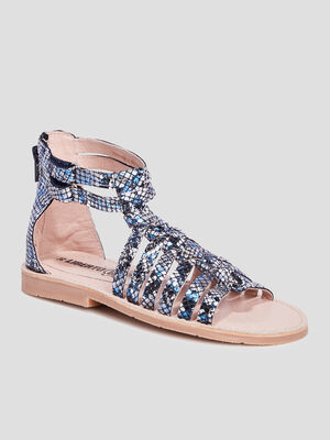 Sandales brides tressees bleu fille
