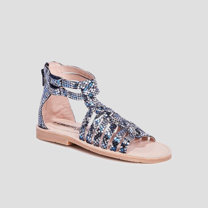 Sandales brides tressées fille bleu