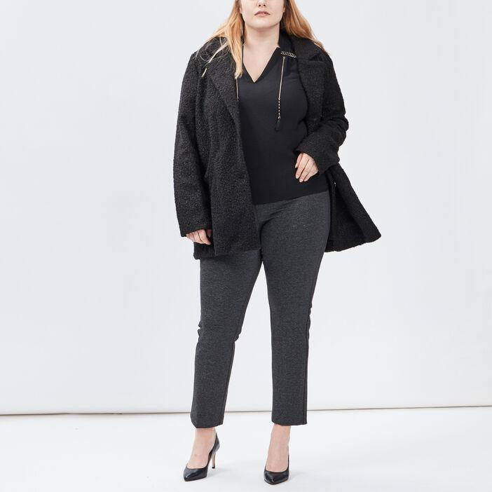 Pantalon droit grande taille femme grande taille gris foncé