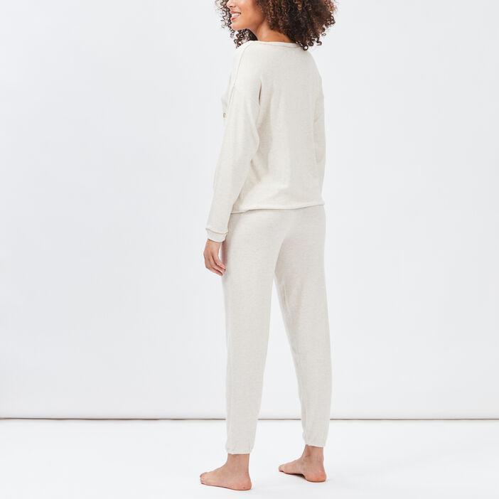 Ensemble pyjama 2 pièces femme beige