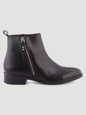 Boots unies avec zip noir femme