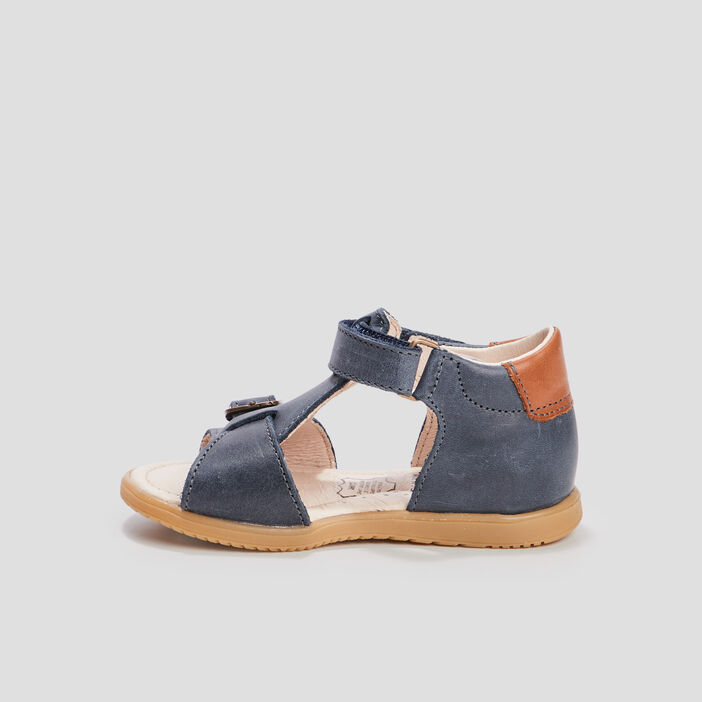 Sandales en cuir bébé garçon bleu
