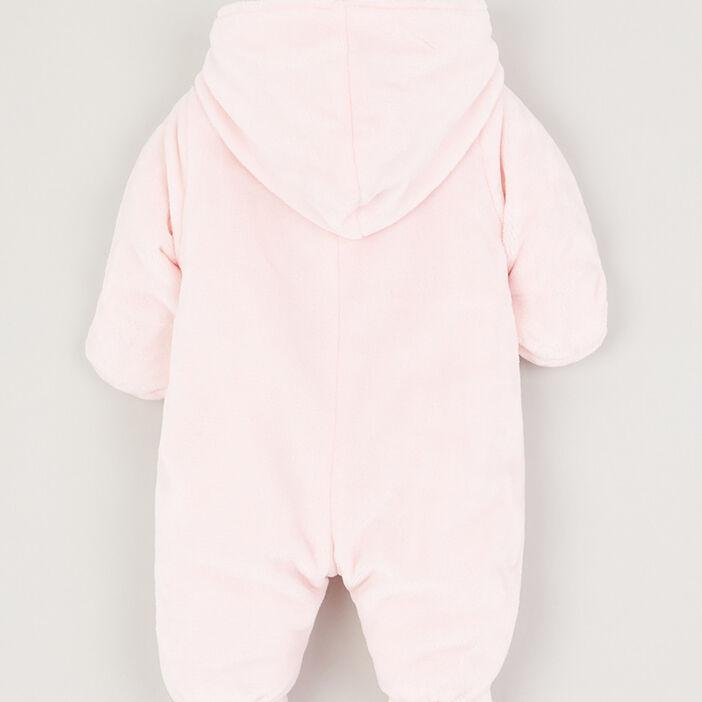 Combinaison à capuche zippée fille rose