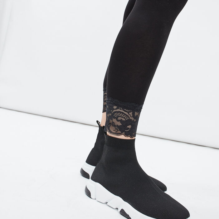 Legging 7/8ème avec dentelle femme noir