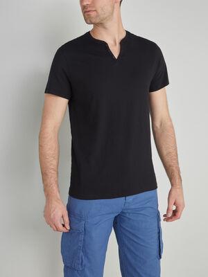 T shirt col tunisien uni noir homme