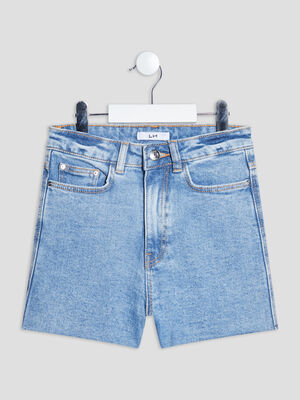 Short straight en jean denim used fille