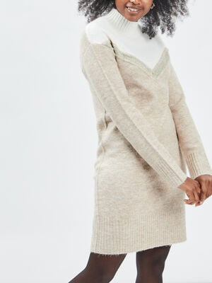 Robe pull droite col montant beige femme