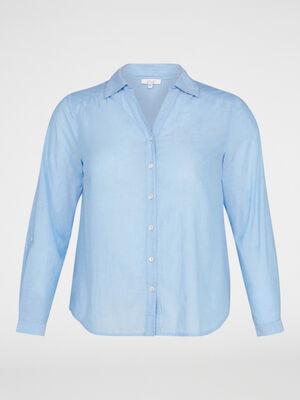Chemise ample unie en coton bleu femme