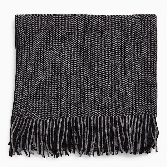 Écharpe imprimée avec franges mixte gris