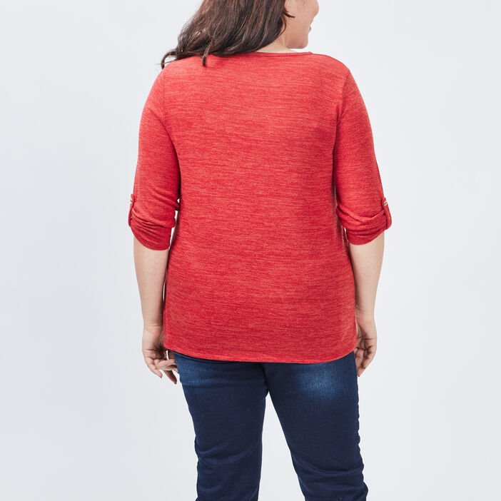 Pull manches 3/4 grande taille femme grande taille rouge