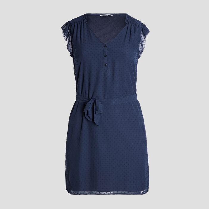 Robe droite ceinturée femme grande taille bleu marine