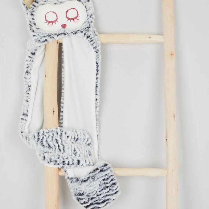 Bonnet, écharpe et moufles 3-en-1 fille beige