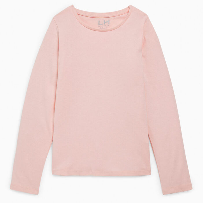 T-shirt uni en coton fille rose clair