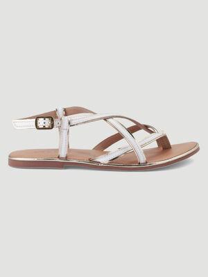 Sandales entre doigt cuir bicolore blanc femme
