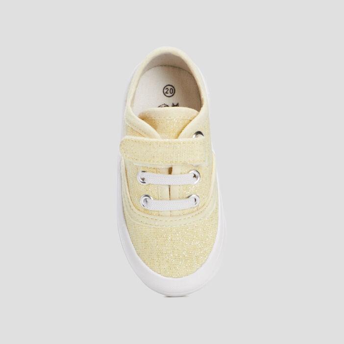 Tennis en toile bébé fille jaune