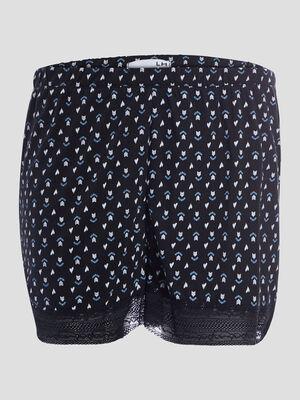 Short de pyjama avec dentelle bleu gris femme