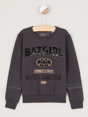 Sweat Batman coton majoritaire gris fonce fille