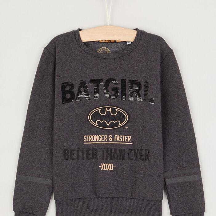 Sweat Batman coton majoritaire fille gris foncé