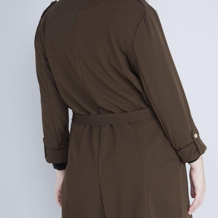 Veste façon trench manches retroussables femme grande taille vert kaki