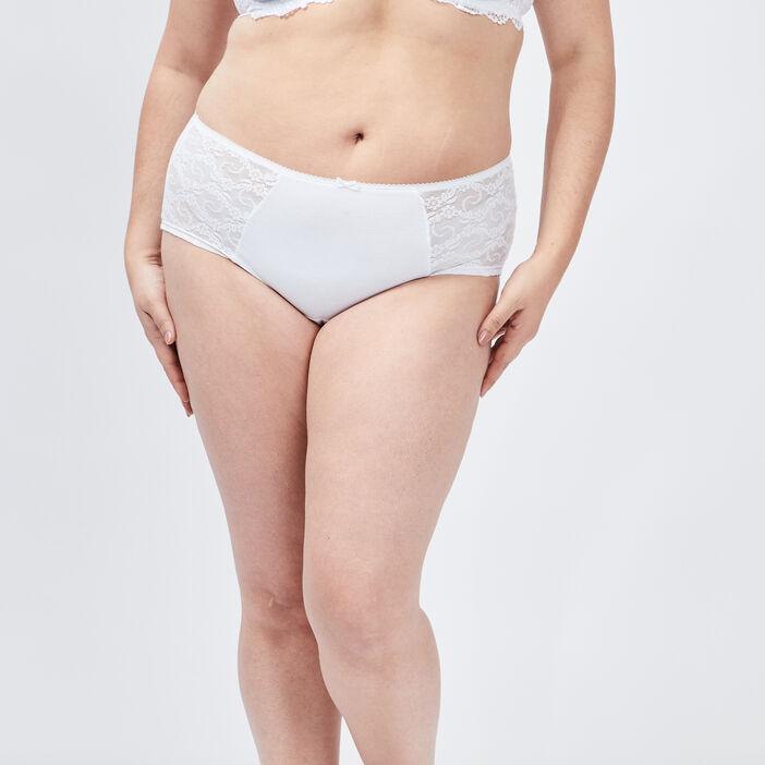 Boxer à dentelle femme grande taille blanc