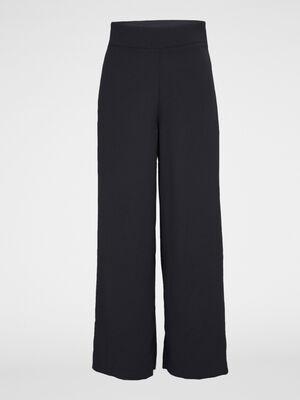 Pantalon evase uni taille haute noir femme