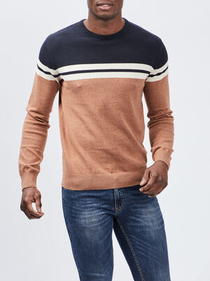 Pull avec col rond camel homme