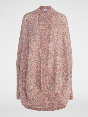 Cardigan long manches fantaisie rose femme