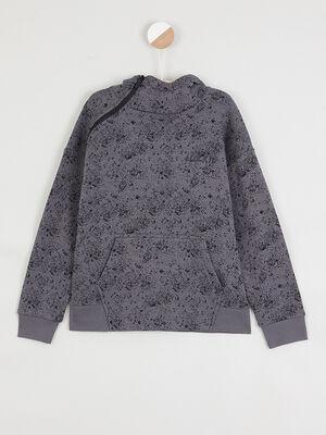 Sweatshirt ouverture zippee cote vert kaki garcon