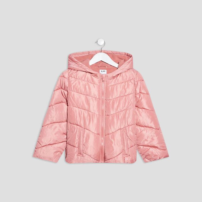 Doudoune droite à capuche fille rose poudrée