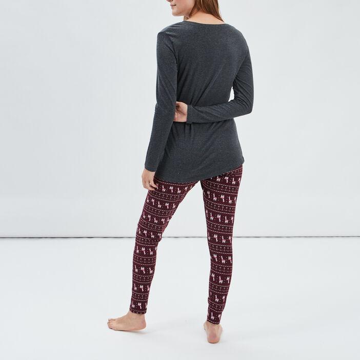 Ensemble pyjama 2 pièces femme gris foncé