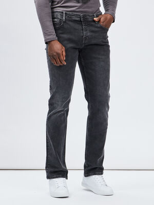 Jeans straight gris fonce homme